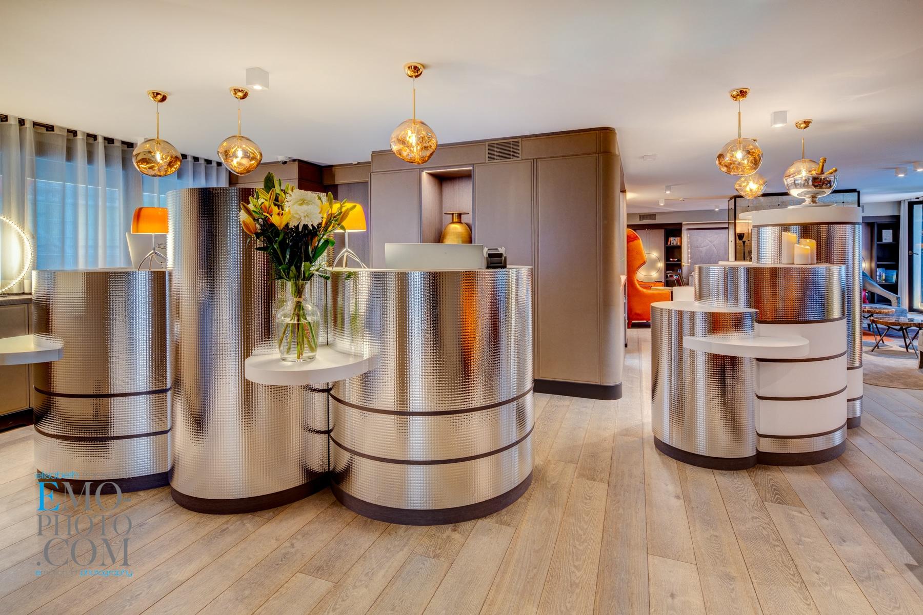 aménagement réception Hôtel Design F6 Genève